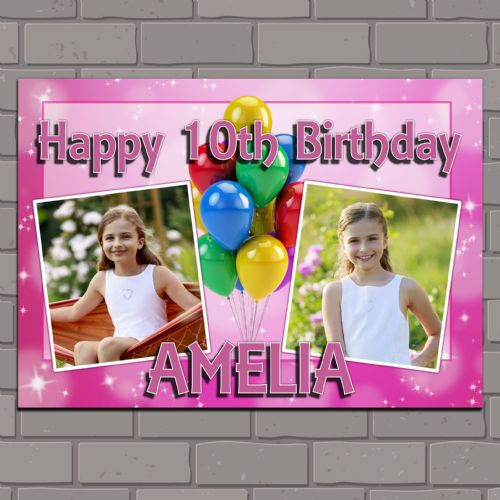 Personalised Birthday Party PHOTO Banner Poster N116 Girls Balloons & Pink Sparkle ANY AGE